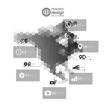 north america map: North america map, infographic template for business design, hexagonal design vector illustration. Illustration