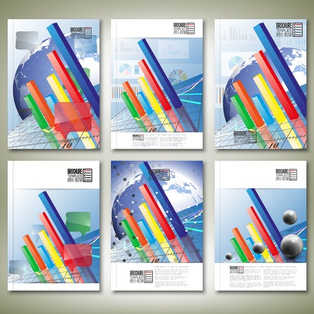 Progressive Bar chart. Brochure, flyer or report for business, templates vector.