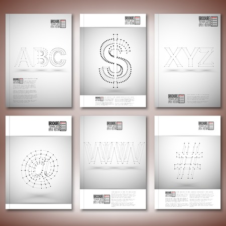 xyz: Three dimensional mesh stylish inscriptions - abc, www, xyz. Brochure, flyer or report for business, templates vector.