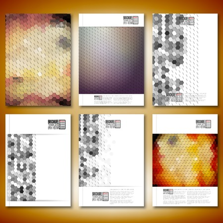 Geometric backgrounds, abstract hexagonal patterns. Brochure, flyer or report for business, templates vector. Vector