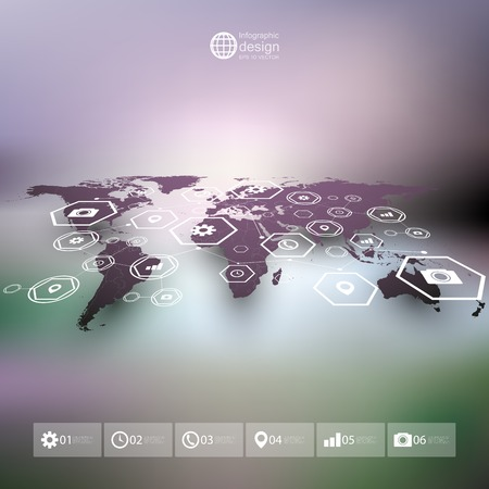 world  hexagon: Violet world map in perspective, blurred infographic vector template for business design