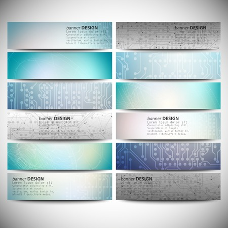 Big banners set, science backgrounds, microchip and electronics circuit backgrounds. Conceptual vector design templates. Modern abstract banner design, business design and website templates. Vector