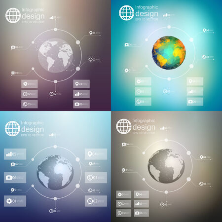 Infographics with unfocused backgrounds and icons, set for business design vector Vector