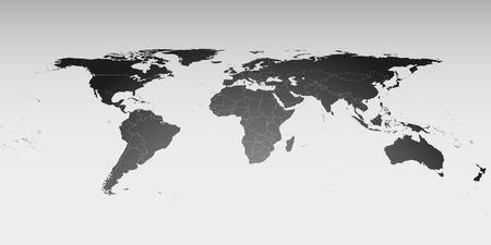 Kaart van de wereld in perspectief, vector sjabloon voor zakelijke design.
