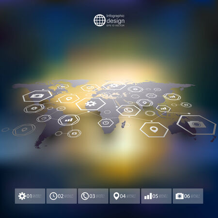 Blue World map in perspective, blurred infographic vector template for business design Vector