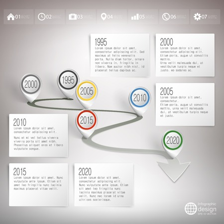 Timeline with pointer marks. Infographic for business design and website template. Vector