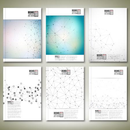 molecula: Estructura de la mol�cula, la red de interconexi�n. Folleto, volante o un informe para los negocios