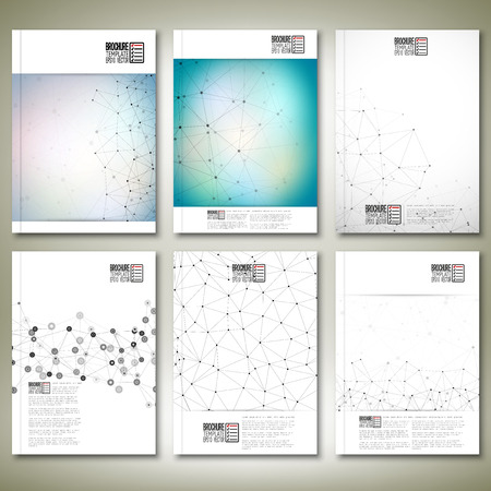 Molecule structure, interconnection network. Brochure, flyer or report for business Ilustração
