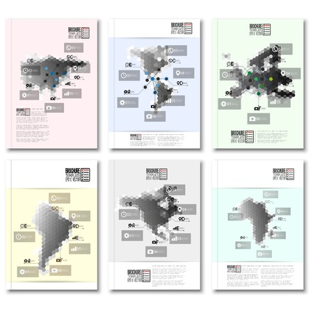 Hexagonal design infographic templates for business. Brochure, flyer or report for business, templates vector. Vector