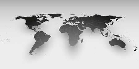 World map template in perspective on gray background for business world map in perspective vector template for business design vector gumiabroncs Choice Image