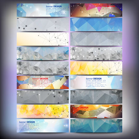 Big colored abstract banners set. Conceptual triangle design vector templates. Modern abstract banner design, business design and website templates. Vector
