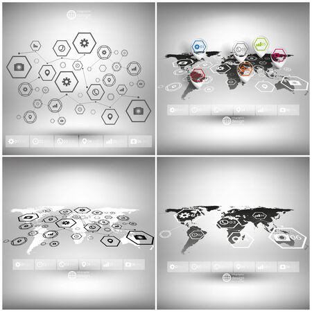 Set of world maps in perspective, infographic vector templates for business design. Vector