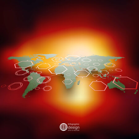 World map in perspective, blurred infographic vector template for business design. Vector