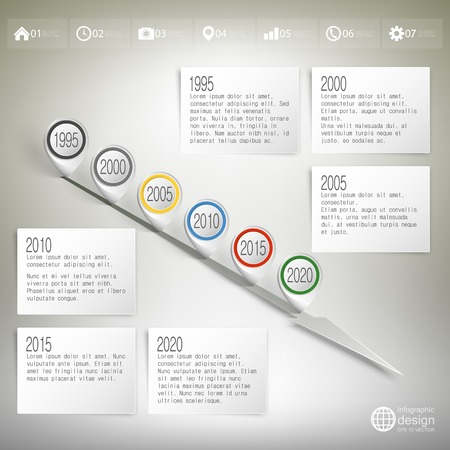 timeline with pointer marks infographic for business design