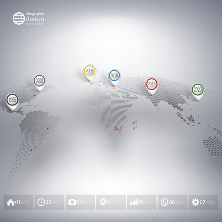 World map with pointer marks. Infographics for business design and website template. Vector