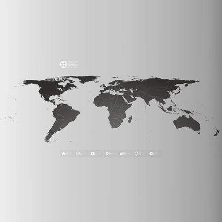 Black World map in perspective, infographic vector template for business design Vector