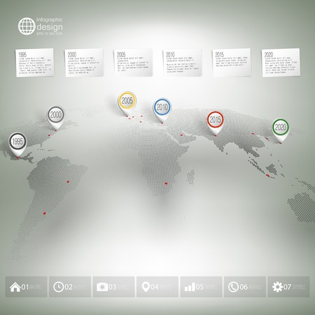 guideline: World map with pointer marks. Infographics for business design and website template. Illustration