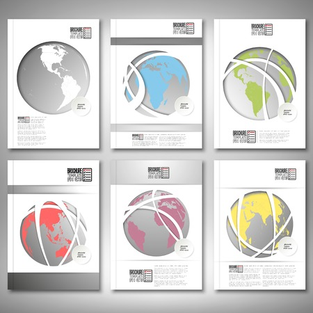 cover design: Color world globes. Brochure, flyer or report for business, template vector.