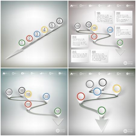 timelines: Timelines set with pointer marks.  Illustration