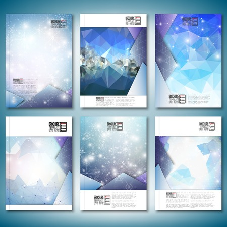 magazine layout: Abstract winter design background with snowflakes.