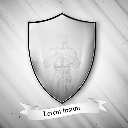 Knight image Metal shield on dirty gray background Vector