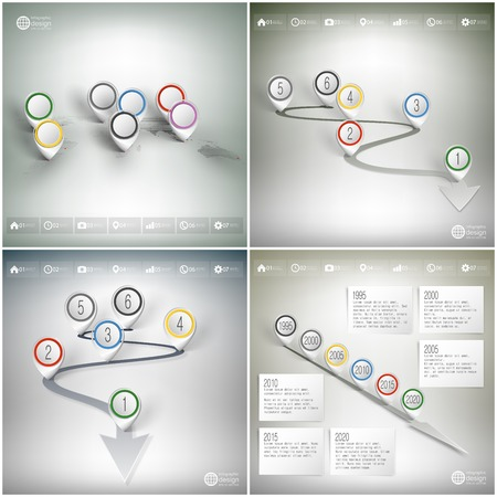 timelines: Timelines set and world map with pointer marks. Infographics for business design and website templates.