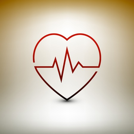 batida de cora��o: Heart beat icon, healthcare and medical vector illustration.