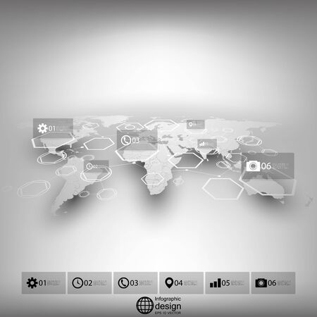 White world map in perspective blurred infographic vector template vector white world map in perspective blurred infographic vector template for business design gumiabroncs Choice Image