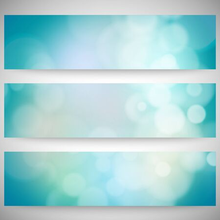 Blurry backgrounds set with bokeh effect. Abstract banners set, template vector. Vector