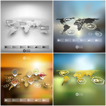 World map in perspective royalty free cliparts vectors and stock set of world maps in perspective blurred infographic vector templates for business design vector gumiabroncs Choice Image