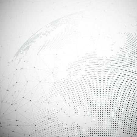 技术: 虛線的世界地球儀,燈光設計矢量插圖。 向量圖像