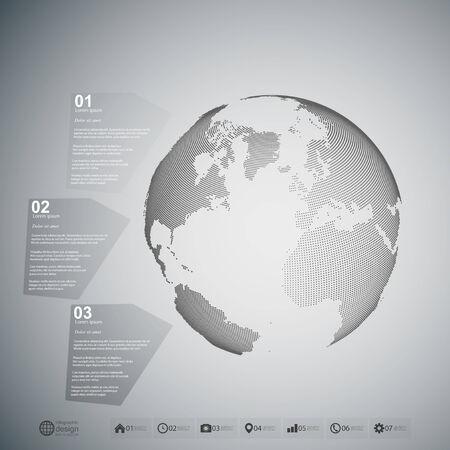 Globo del mondo. Infographic template per la progettazione di business, sfondo astratto vettoriale.