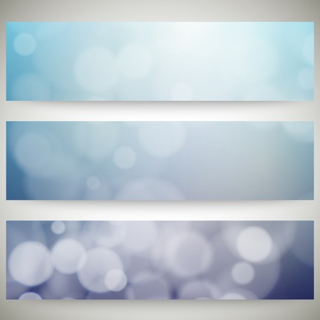 dark blue background: Blurry backgrounds set with bokeh effect. Abstract banners set, template vector.