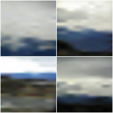 Illustration of a blue sky and white clouds. Vector web and mobile interface templates. Editable blurred backgrounds set