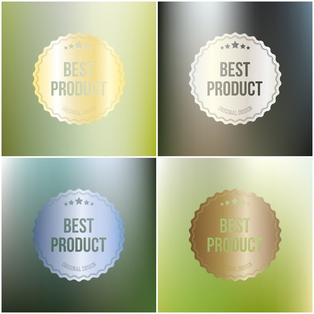 best product: Set of best product labels isolated on blurred background.