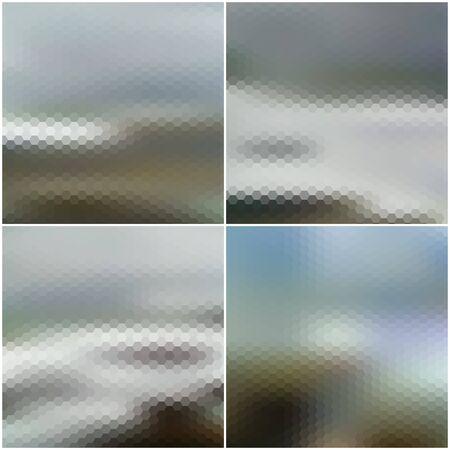 sea landscape: Vector blurred hexagonal backgrounds set with sea landscape. Illustration