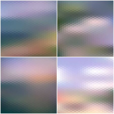 Illustration of a blue sky and white clouds. Vector web and mobile interface templates. Blurred hexagonal backgrounds set Illustration
