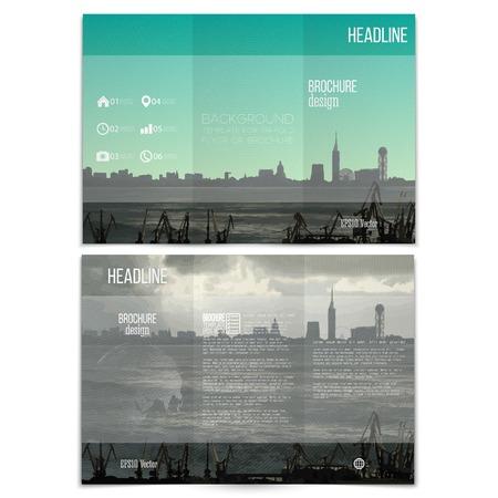 Shipyard and city landscape. Brochure, tri-fold flyer or booklet for business. Modern trendy design vector templates on both sides. Illustration