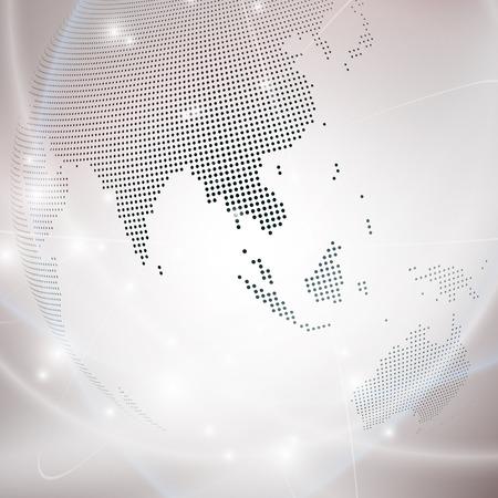 地球儀、光デザイン ベクトル図の点線。
