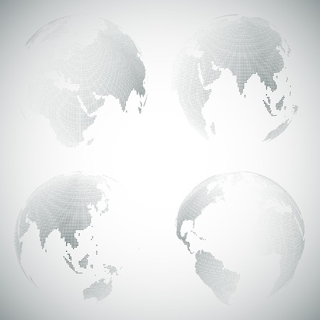 world locations: Set of dotted world globes, light design vector illustration.