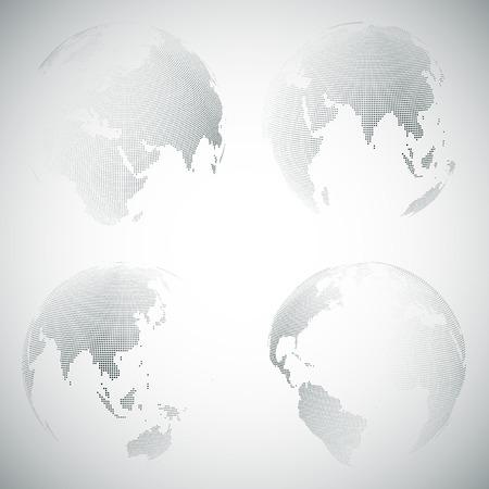 Set of dotted world globes, light design vector illustration.