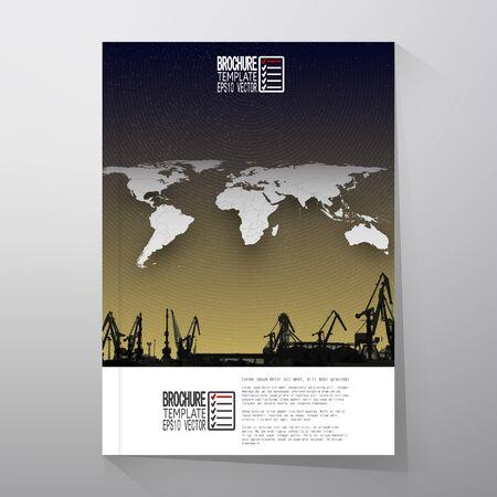 Shipyard, harbor skyline, world map night design vector. Brochure, flyer or report for business, templates vector
