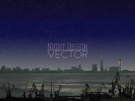 dockyard: Shipyard and city landscape, night design vector illustration.