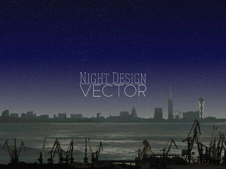 Shipyard and city landscape, night design vector illustration.