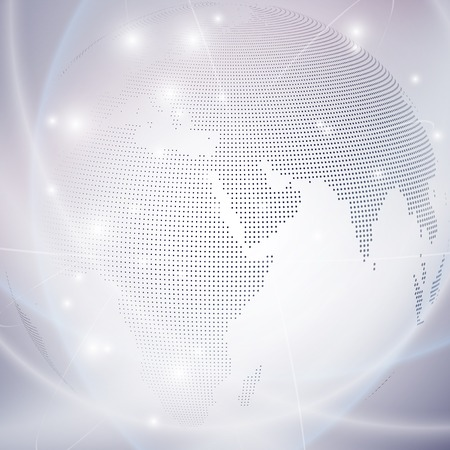 Dotted world globe, light design vector illustration. Ilustrace