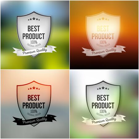 best product: Best product shields set isolated on blurred background.