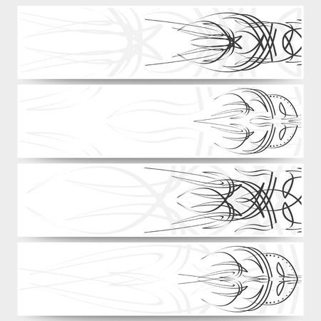 flames: Web banners set, pinstripe design header layout templates.