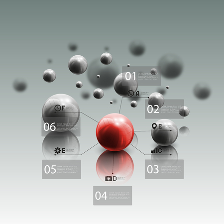 red sphere: Spheres in motion on gray background. Red sphere with infographic elements for business, abstract geometric pattern vector illustration.