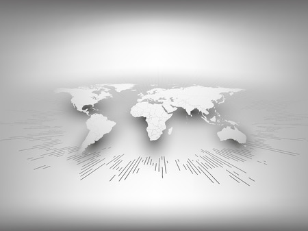 business asia: World map template in perspective on gray background for business or website design