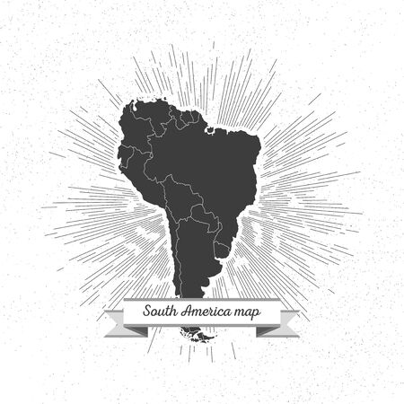 South america map with vintage style star burst, retro element for your design Vector